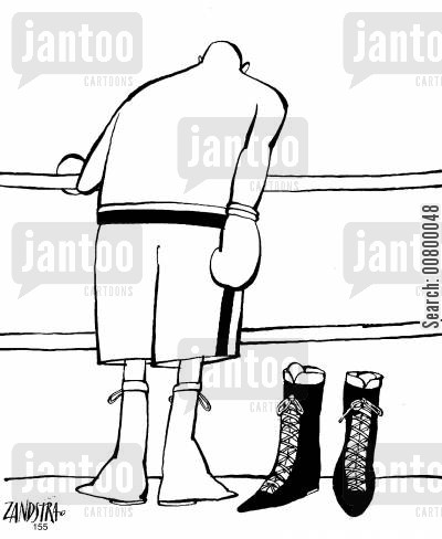 knocked out cartoon humor: Boxer knocked out of his boots.