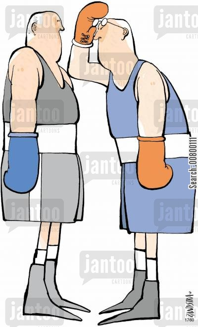 challenges cartoon humor: Boxer with glasses.