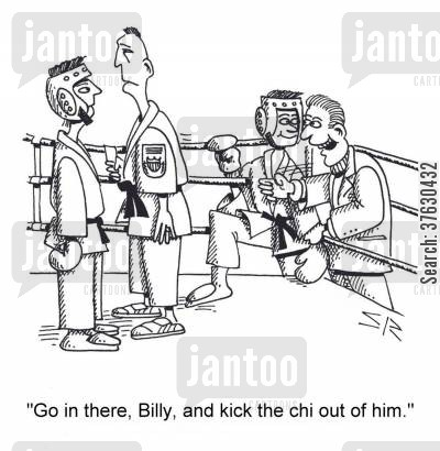 mediate cartoon humor: 'Go in there, Billy, and kick the chi out of him,'