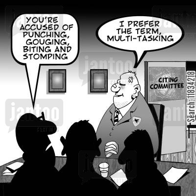 citing committee cartoon humor: 'You're accused of punching, gouging, biting and stomping.'