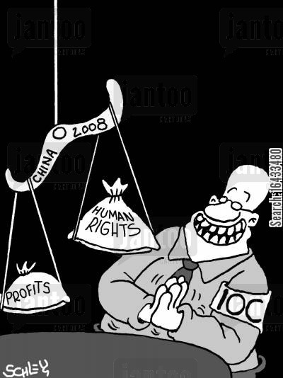 communism cartoon humor: IOC and human rights.