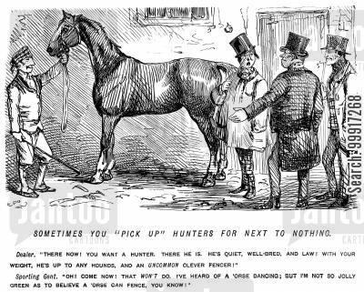 huntsmen cartoon humor: Sporting gent buying a hunting horse from a horse dealer.