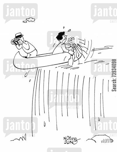 rapids cartoon humor: Husband takes photos while wife tries to keep canoe from going over falls.
