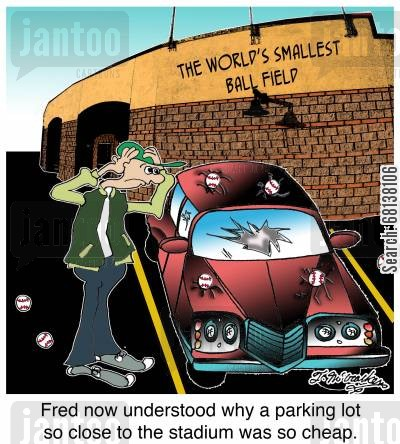 stadiums cartoon humor: Fred now understood why this parking lot so close to the stadium was so cheap.