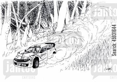 racing car cartoon humor: Rally Car with kangaroo attached to the front.