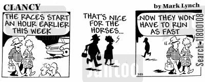 incomprehension cartoon humor: Clancy: Women and Horse-Racing