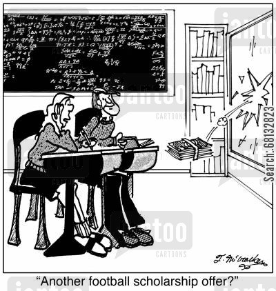 athletic scholarships cartoon humor: 'Another football scholarship offer?'