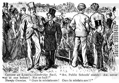 cricketer cartoon humor: Public schools cricket match at Lords