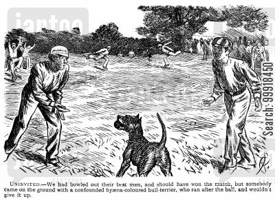 cricket team cartoon humor: A bull terrier refusing to give a ball back to cricketers.
