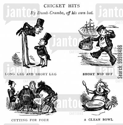 fielding cartoon humor: 'Cricket Hits - By Dumb-Crambo, off his own bat.'
