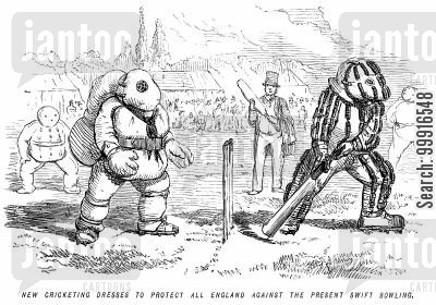 protective clothing cartoon humor: New cricketing dresses to protect all England against the present swift bowling.