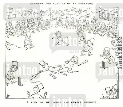 cricket ground cartoon humor: Manners And Customs Of Ye Englishe: A cricket match