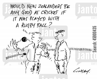 cricket ball cartoon humor: 'Would New Zealanders be any good at cricket if it was played with a rugby ball?'