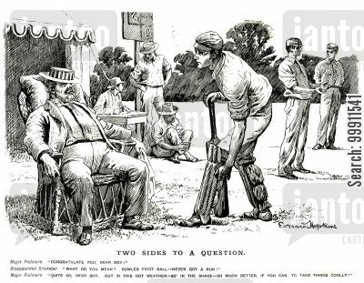 cricketer cartoon humor: Lazy spectator at a cricket match