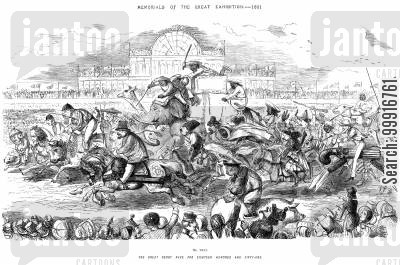 progress cartoon humor: Memorials of the Great Exhibition - 1851 - No. XXVI - The Great Derby Race For Eighteen Hundred and Fifty-one.