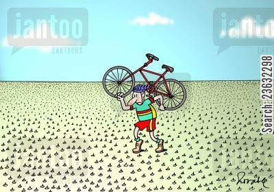 punctures cartoon humor: Bike