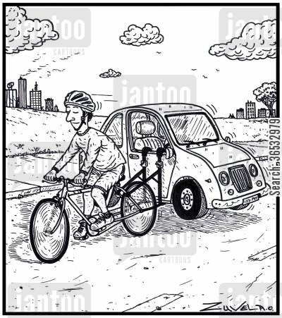 bike racks cartoon humor: A cyclist carrying his car on his bicycle.