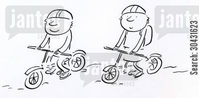 path cartoon humor: Cycling.