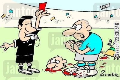 fouls cartoon humor: Decapitation on the football pitch.