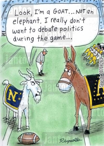 mascots cartoon humor: 'Look, I'm a goat, not an elephant. I really don't want to debate politics during the game...'