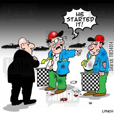 car races cartoon humor: 'He started it.'