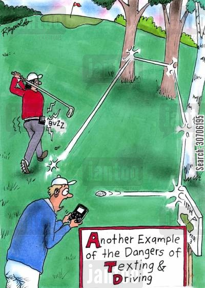 concentration cartoon humor: 'Another example of the dangers of texting and driving.'