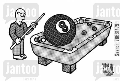 snooker players cartoon humor: Stuck behind the eight ball.