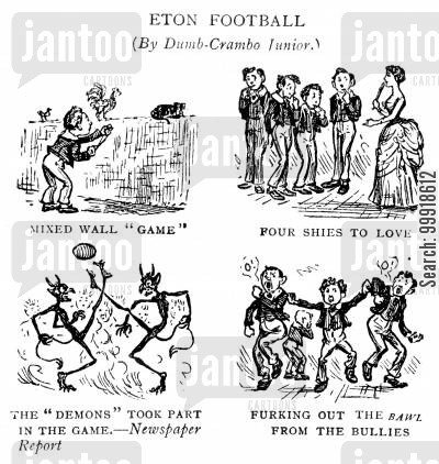football pitch cartoon humor: 'Eton Football (By Dumb-Crambo Junior.)'