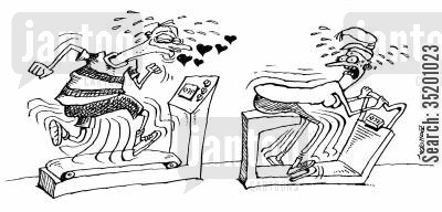 exercise bikes cartoon humor: Man on an exercise bike chasing a woman on another one.