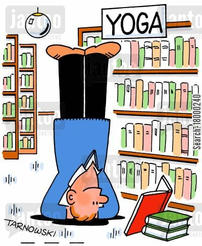 handstands cartoon humor: Man reading a yoga book while standing on his head.