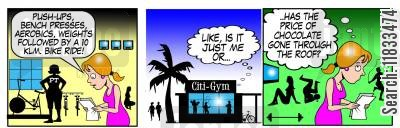 bench press cartoon humor: The price of chocolate has gone through the roof!