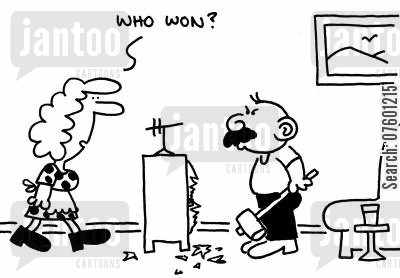 smashed tv cartoon humor: 'Who won?'