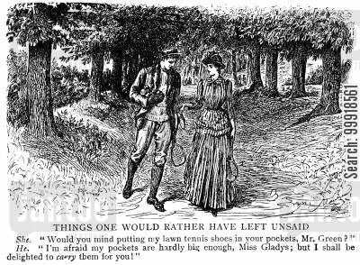 recreation cartoon humor: Man says his pockets aren't big enough to fit a lady's tennis shoes.