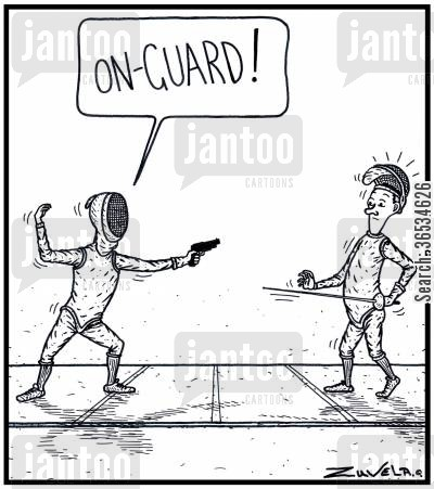 contests cartoon humor: 'On-guard!': A FencerFoilist with a Gun instead of a Foil