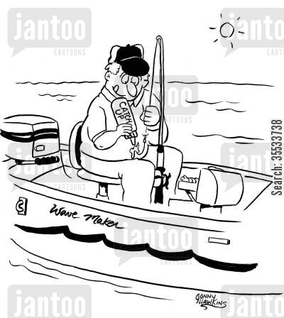 catching fish cartoon humor: Fisherman applies 'Catch Up' to shook