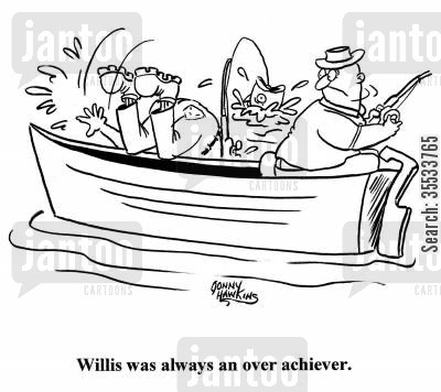 overachievers cartoon humor: Man falls in water Title: 'Willis was always an overachiever.'