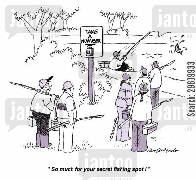 queuing cartoon humor: 'So much for your secret fishing spot!'