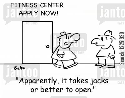 jacks cartoon humor: 'Apparently, it takes jacks or better to open.'