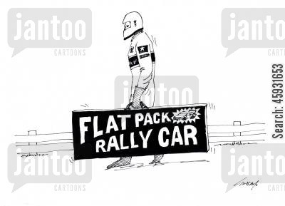 rally races cartoon humor: Flat pack rally car