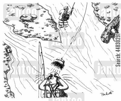 bald head cartoon humor: A fly-fisherman ,while casting, hooks and removes his friends hat.