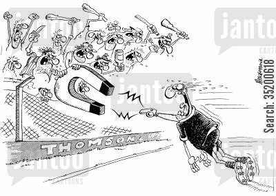 referees cartoon humor: Referee in trouble as angry crowd reel him in