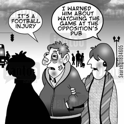 oppositions cartoon humor: 'I warned him about watching the game at the opposition's pub.'