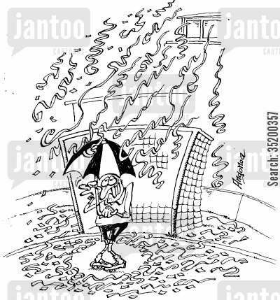 goalies cartoon humor: Shy goalie smiles under umbrella in victory downfall of streamers