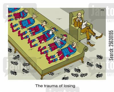 football team cartoon humor: The trauma of losing.