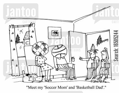 suburban cartoon humor: 'Meet my 'Soccer Mom' and 'Basketball Dad'.'