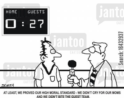 soccer fan cartoon humor: 'At least, we proved our high moral standard - we didn't cry for our moms and we didn't bite the guest team.'