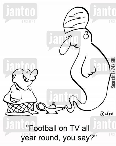 football cartoon humor: 'Football on TV all year round, you say?'