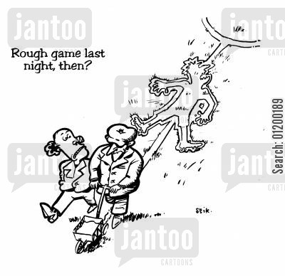 groundsmen cartoon humor: Rough game last night, then?