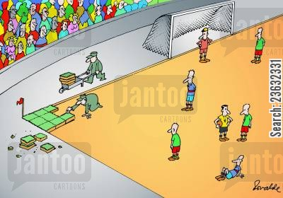football pitch cartoon humor: Turfing the football field,