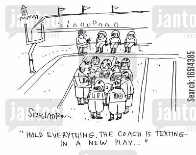 american football players cartoon humor: 'Hold everything. The coach is texting in a new play...'